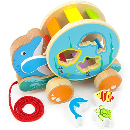 Wooden Wonders Ocean Pals Spinning Shape Sorter Pull Along Toy (3pcs.) by Imagination Generation by Imagination Generation