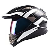 Dual Sport Motorcycle Motocross Off Road Full Face Helmet Racing Black White,Size Medium