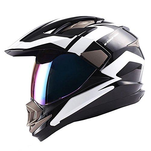 Dual Sport Motorcycle Motocross Off Road Full Face Helmet Racing Black White,Size Medium