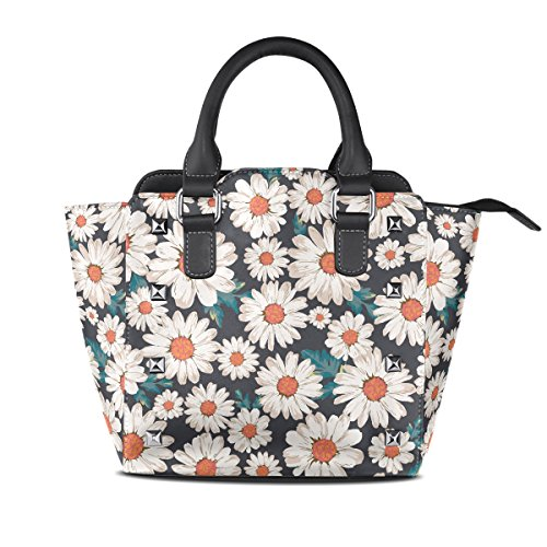 AURELIOR Blossom Flower Daisy Print Pattern Handbags Women's PU Leather Top-Handle Shoulder Bags