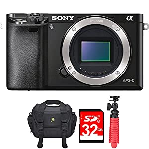 "Sony Alpha a6000 24.3MP Interchangeable Lens Camera ILCE6000/B – (Body) w/32GB Deluxe Bundle Includes, Digital Camera Padded Carrying Case +12"" Rubberized Spider Tripod + 32GB SDHC Memory Card"