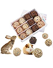 LEFTSTARER 12 Pcs Guinea Pig Treats,Teeth Cleaning and Chew Toys for Small Pet Animals Play Ball Rolling Bell Ball Toys Chinchilla Bunny Cat Natural Balls, Pet Entertainment Accessories