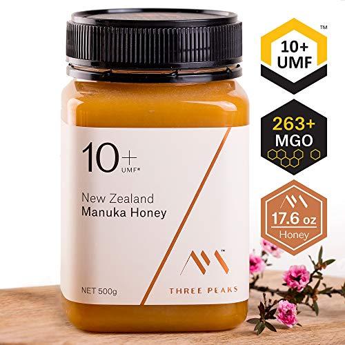 Three Peaks Manuka Honey New Zealand - Certified UMF 10+ - 17.6 oz (500gm) - 100% Natural honey, Raw honey - Ultra Premium, Healing Manuka honey