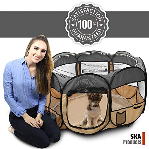 SKA Products Pop Up Puppy Playpen 45-Inch for Travel, Indoor, Outdoor Comfortable Mesh for Pets Portable, Easy to Fold Safe and Secure with Removable Floor, Skylight, Windows