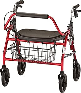 NOVA Mighty Mack Heavy Duty Rollator Walker, Red