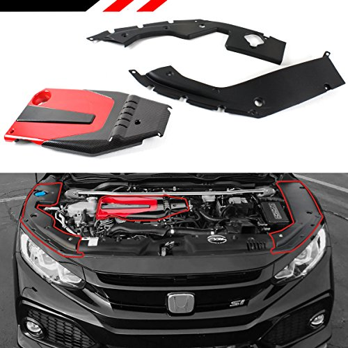 Fits for 2016-2018 Honda Civic JDM Red Black Type-R Style Engine Valve Cover + Engine Bay Side Panel ()
