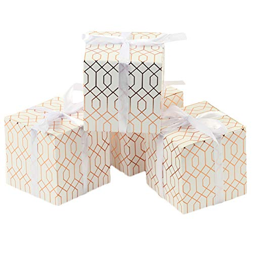 Andaz Press Gift Favor Box Rose Gold Foil, Geometric Hexagon Pattern Favor Box with Ribbon, in Bulk 25-Pack, Modern Party Favor Gift Box for Wedding Favors, Baby Shower, Graduation, Baptism
