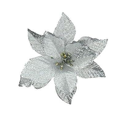 6pcs 5 Inch Glitter Artificial Wedding Christmas Flowers Xmas Tree Wreaths Decor Ornament Red