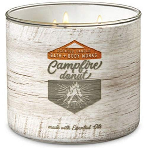 Bath and Body Works White Barn Campfire Donut 3 Wick Candle 14.5 Ounce White Wood Look Label