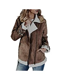 Amzeca Women Faux Suede Warm Jacket Zipper Up Front Coats Outwear Pockets