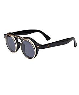 FEELONTOP Summer Cool Round Shape Pc Lens Black Acetate Frames Sunglasses with Free Glasses Boxes