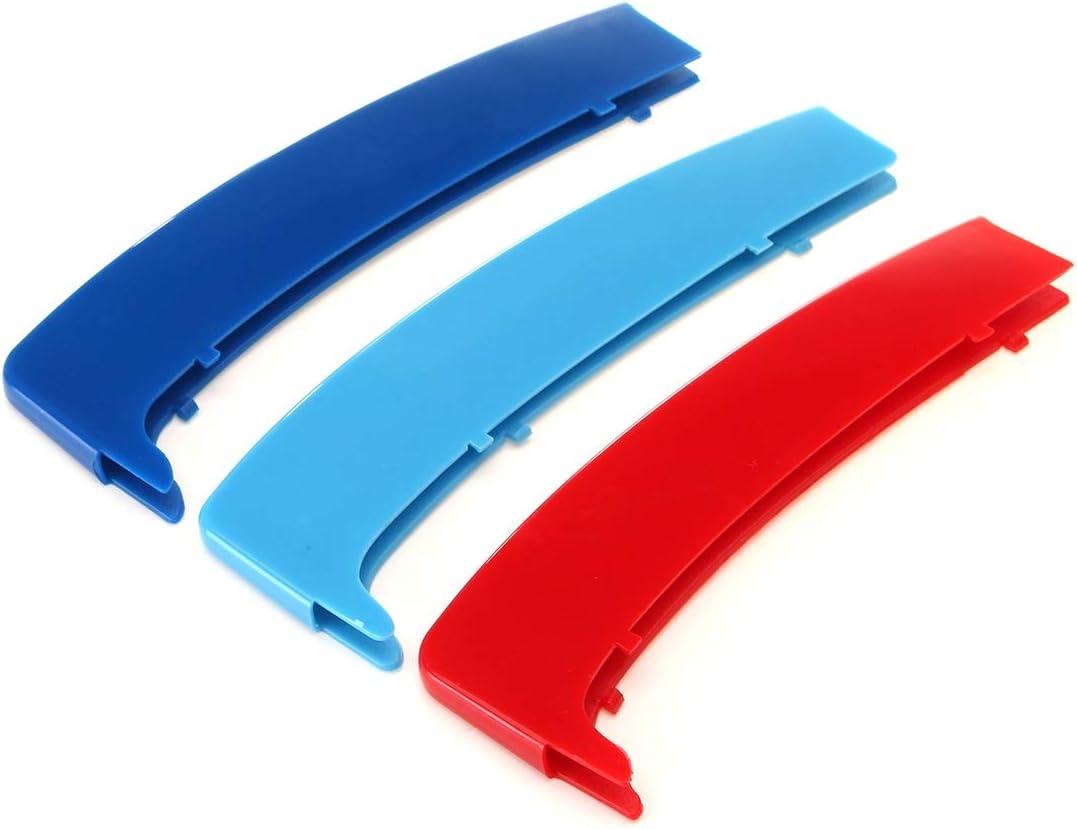Colore : Multi-Colored HHF Adesivi 3D Sport M Stile Grille Copertura della griglia della Clip Trim for BMW Serie 1 E81 E82 E87 E88 2004 2005 2006 2007 2008 2009 2010 2011