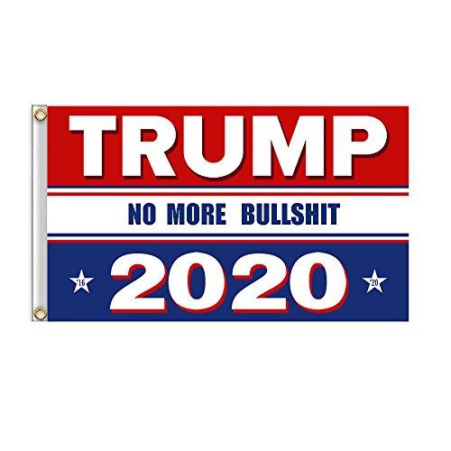 Bull Flag - RTWAY Donald Trump for President 2020 No More Bullshit Flag 3x5 Feet Printed Flag The 45th U.S. President Flags with Grommets for Hanging