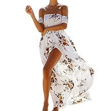 Shinekoo Womens Summer Off Shoulder Print Slit Maxi Bandeau Long Beach Dress
