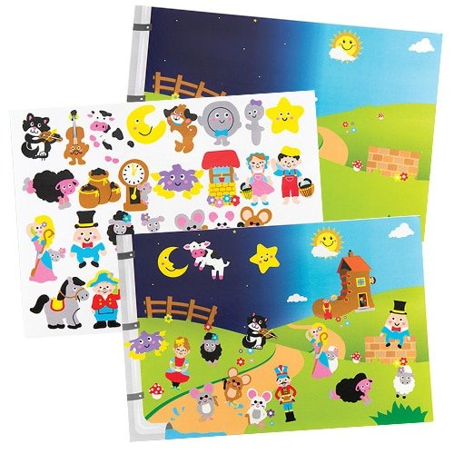Baker Ross Nursery Rhymes Sticker Scenes (Pack of 4) for Kids to Make & Display Creative Crafts