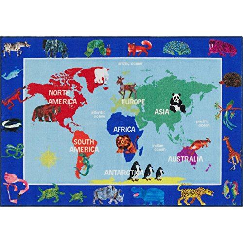 Home Dynamix Eric Carle Elementary World Map Area Rug 6'6''x9'5'', Graphic/Print World Map Blue/Green/Red