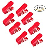 #4: Redriver 8Pcs Shoes Slotz Space Saver Adjustable Double Layer Storage Shelf (Red)
