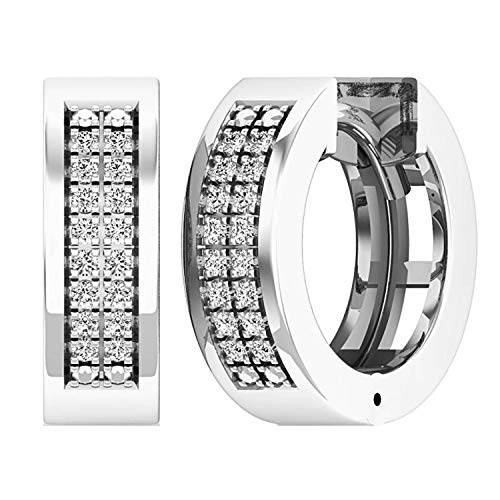 Dazzlingrock Collection 0.12 Carat (ctw) Round White Diamond Mens Ladies Unisex Huggies Hoop Earrings, Sterling Silver