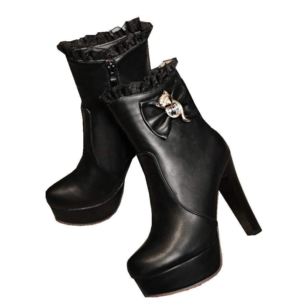 Shirloy Frauen Stiefel Herbst und Winter Frauen Schuhe Sexy Mesh Strass Bogen Stiletto High Heel Martin Stiefel Pelz Schuhe