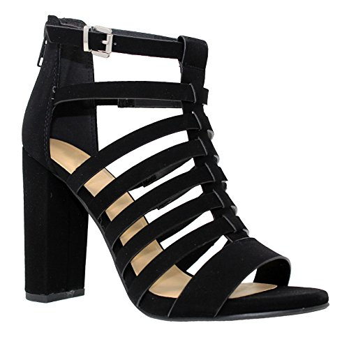 Open Sandal Chunky Cut Shoes Toe Black Women's MVE Out Heel s 8aqEx