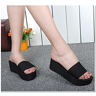 f1144552514c78 ShopyStore Black 6.5 2017 Summer Woman Shoes Platform Bath Slippers Wedge  Beach Flip Flops High Heel  Buy Online at Low Prices in India - Amazon.in