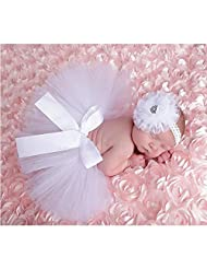 Cute Newborn Toddler Baby Girl Tutu Skirt & Headband Photo Prop Costume Outfit (White)