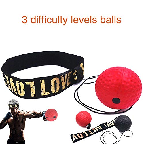 Acici Boxing Reflex Ball Set, 3 Difficulty Level Training Balls On String, Punching Fight React Head Ball with Headband…