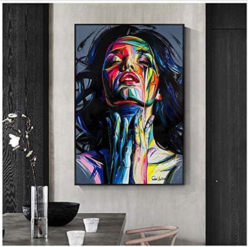 ストリートウォールアートキャンバスプリント抽象アート女の子水彩キャンバス絵画壁の写真家の装飾-50×70センチなしフレーム