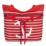 Red Anchor Striped Rope Handle 19 Inch Canvas Beach Bag For Sale