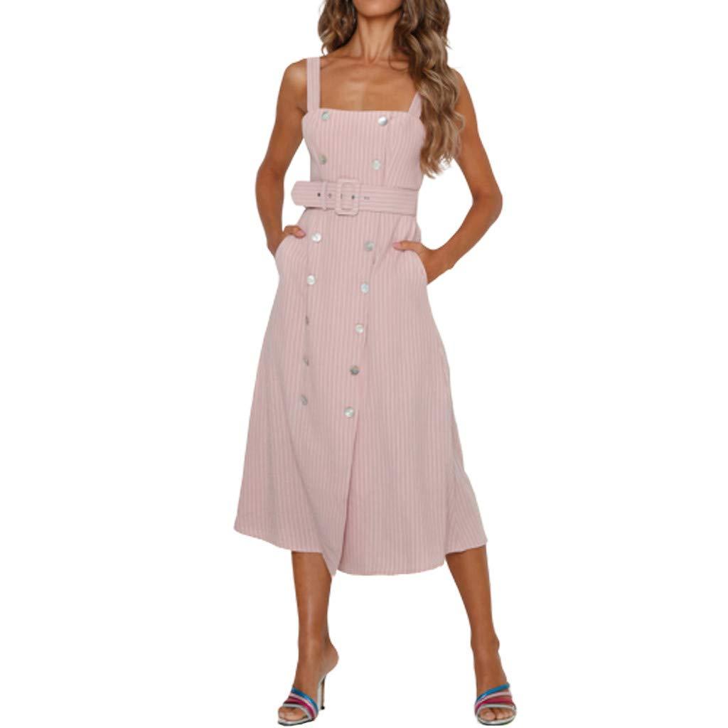 DMZing Women Fashion Solid Halter Dress Elegant Lady Button Casual Party Beach Summer Resort Hallmark Dress Pocket