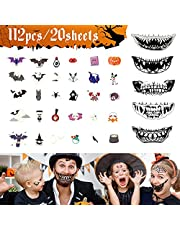 Halloween Tattoos | 20 vellen tijdelijke Tattoo Stickers Kids huid masker tanden waterdicht gloeiende pompoen vleermuis voor mannen dames jongens meisjes Halloween partij kinderen tatoeages ingesteld