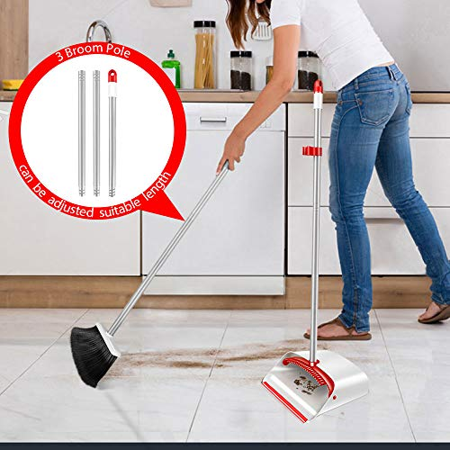 """Upright Broom and Dustpan Set with 52"""" Long Handle Easy to Store Dust Pan Broom with Comb Household Cleaning Supplies Easy to Assemble for Home Kitchen Room Office Outdoor Indoor"""
