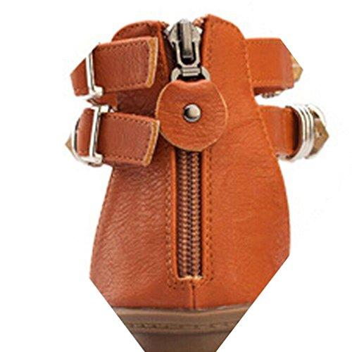 Ouneed® Damen Zehentrenner ,Sommer Flache Sandalen Roman Female Zipper Low Heels Sandalen Flip Retro Braun