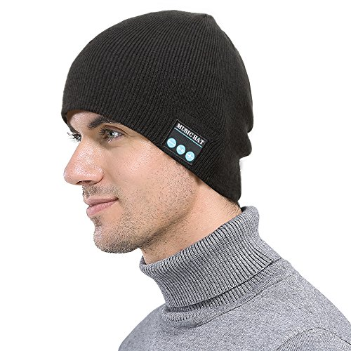 Bluetooth Earphone Beanie Hat,xinmaous Smartphone Men Women Winter Outdoor Wireless Bluetooth Stereo Music Hat,for iPhone (Black)