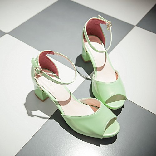 del una áspero de Abierta los Zapatos con 39 Verano Verde Hebilla Punta Nueva Fluorescente con Versión ZHZNVX Femeninas de la Femeninos Dedo Sandalias Coreana del pie TwPZqP