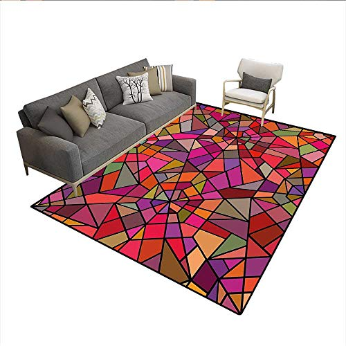 Stained Glass Cowboy - Floor Mat,Mosaic Style Stained Glass Fractal Colorful Geometric Triangle Forms Artful Image,761D Printing Area Rug,Multicolor 5'x8'