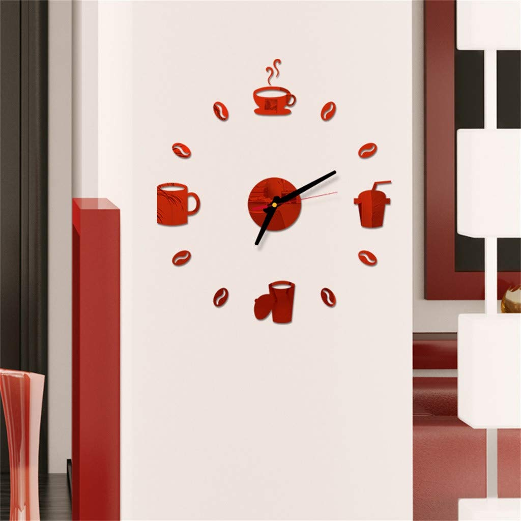 Pet1997 Large 3D DIY Acrylic Wall Clock, Modern Roman Numbers Wall Clock with Acrylic Mirror Wall Stickers Clock Home Decor Mural Decals for Home Office Decorations Gift (Red) by Pet1997 (Image #2)