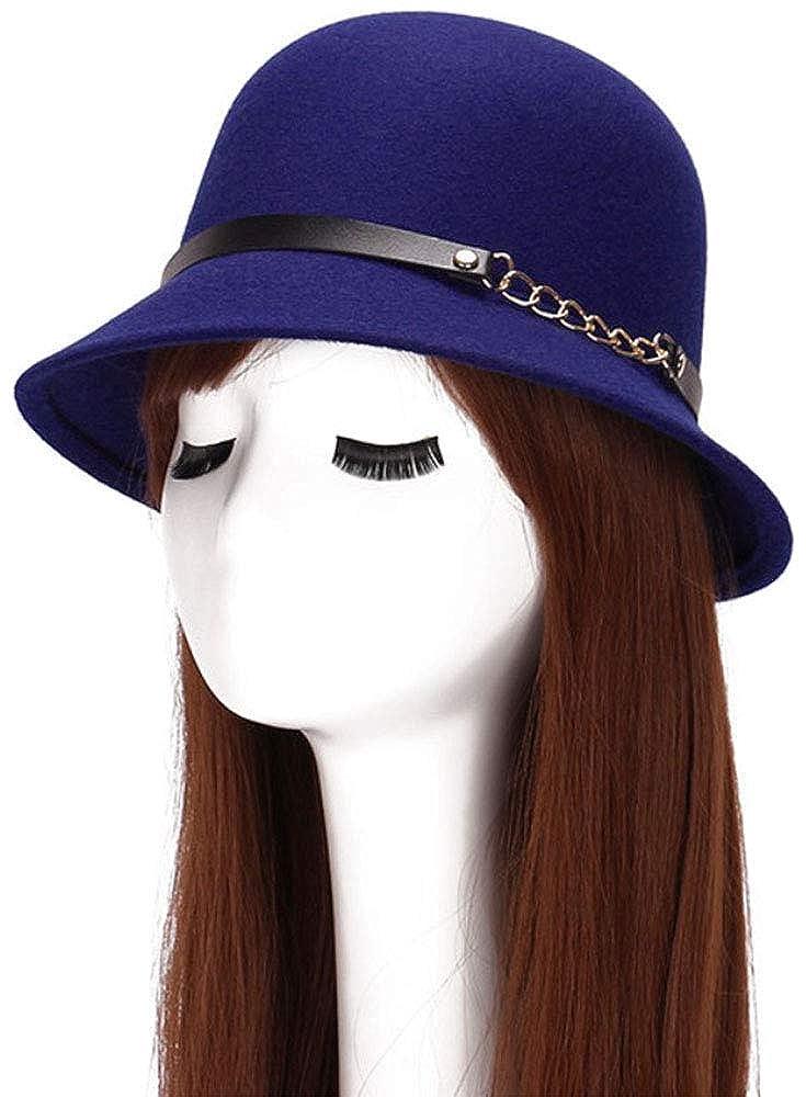 bettyhome British Style Womens Wool Feeling Chain Felt Bucket Hat