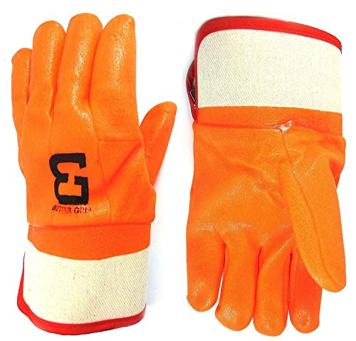 Troy Safety Heavy Duty Premium Sandy finished PVC Coated-Supported Glove with Safety Cuff, Chemical Resistant, Large, Fluorescent Orange (3 Pairs) by Troy Safety (Image #1)