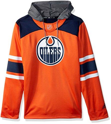 adidas NHL Edmonton Oilers Mens Silver Jersey Hoodsilver Jersey Hood, Dark Blue, (Edmonton Oilers Nhl Jersey)