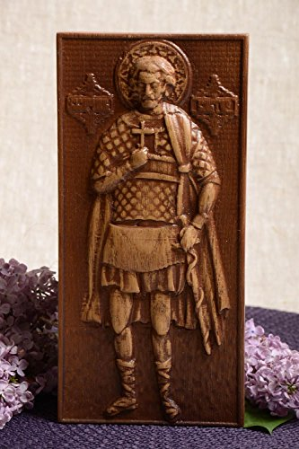 Handmade Rectangular Carved Wooden Icon Of Saint Martyr Victor