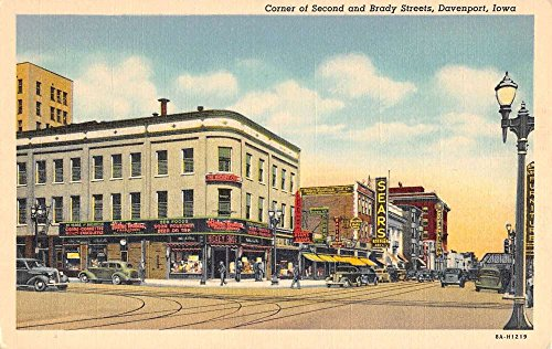 Davenport Iowa Second And Brady Streets Store Fronts Antique Postcard - Stores Iowa Davenport