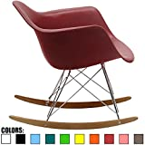 2xhome Red - Eames Style Molded Modern Plastic Armchair – Contemporary Accent Retro Rocker Chrome Steel Eiffel Base - Ash Wood Rockers - Rocking Style Lounge Cradle Arm Chair