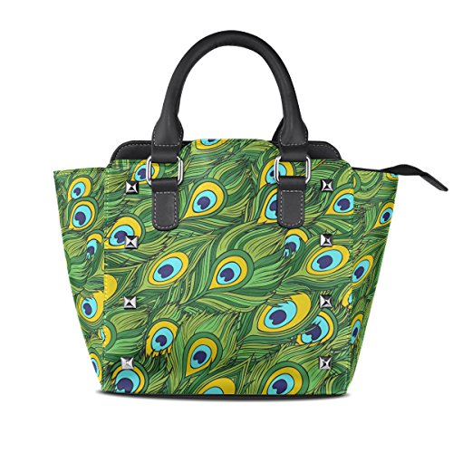 Leather Top Bags Shoulder Women's Ethnic TIZORAX Handle PU Handbags Cartoon Feathers Peacock yP0fa8WP