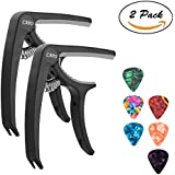 Guitar Capo - 2 Pack Guitar Accessories Trigger Capo with 6 Pcs Free Guitar Picks for Acoustic and Electric Guitars, Ukulele and Banjo