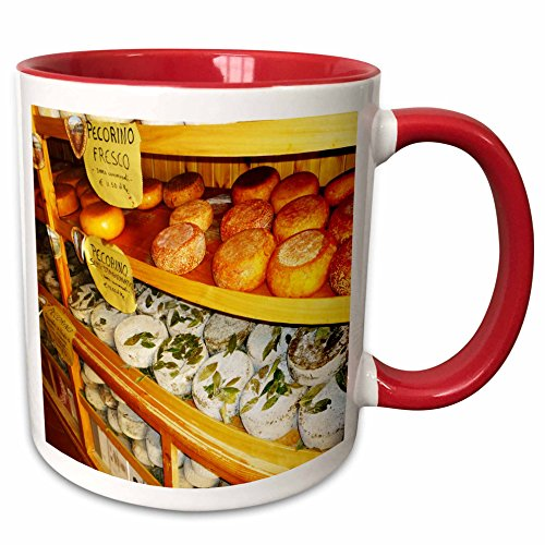 RinaPiro - Farmers Markets - European market. Cheeses. Pecorino. Cool image. - 11oz Two-Tone Red Mug (mug_238363_5) (Farmers Market Mug)