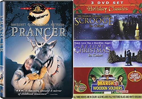Family Fun Holiday DVD B undle - Charles Dickens Classic Scrooge, Beyond Christmas and March of the Wooden Soldiers (In Color!) Plus Prancer 4-DVD Collection