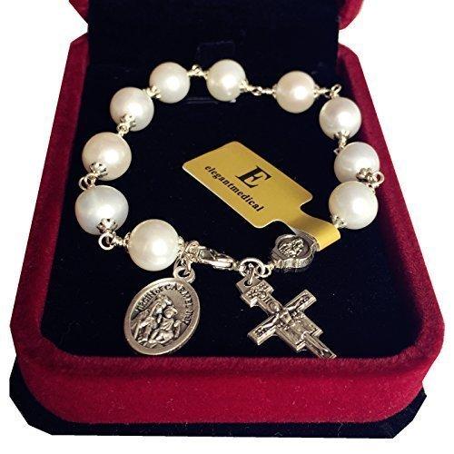 elegantmedical HANDMADE Silver Wire Wrap Pearl BEAD ROSARY BRACELET CROSS CATHOLIC