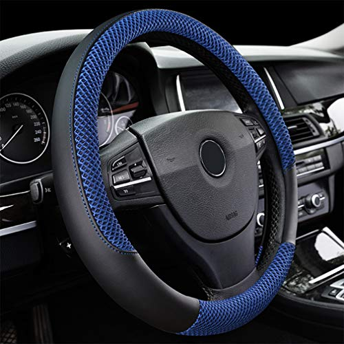 "LucaSng Black and Blue Microfiber Leather and Ice Silk Fabrics Car Steering Wheel Cover Fit 14.56""-14.96"""