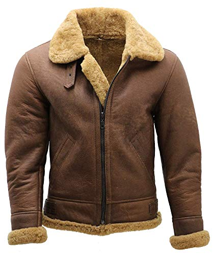 B3 Bomber RAF Pilot WW2 Aviator Flying Faux Shearling Brown Sheepskin Leather Jacket (M)